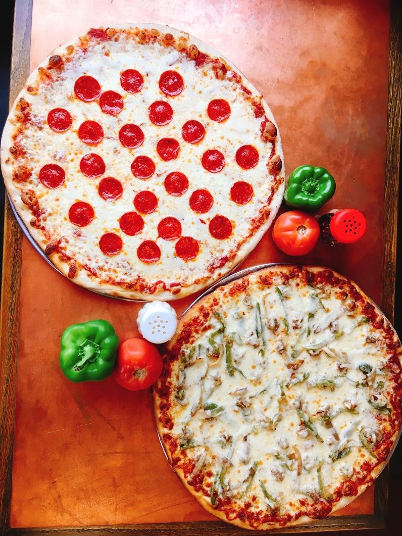 2 whole pizzas